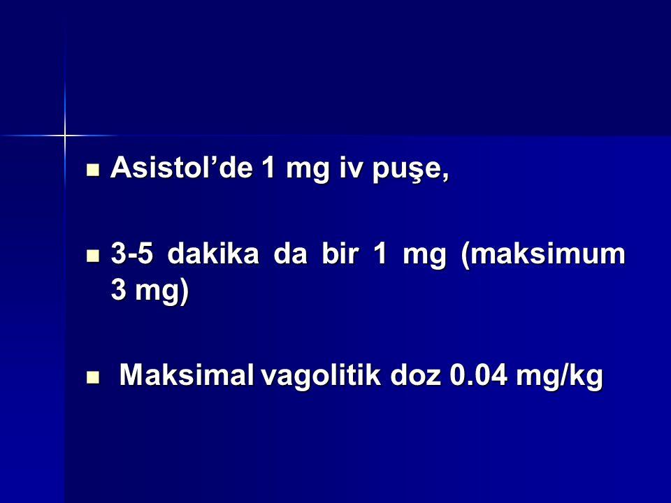 Asistol'de 1 mg iv puşe, Asistol'de 1 mg iv puşe, 3-5 dakika da bir 1 mg (maksimum 3 mg) 3-5 dakika da bir 1 mg (maksimum 3 mg) Maksimal vagolitik doz