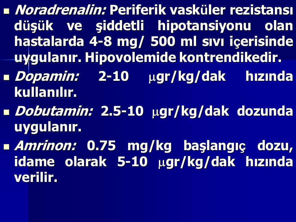 Noradrenalin: Periferik vask ü ler rezistansı d ü ş ü k ve şiddetli hipotansiyonu olan hastalarda 4-8 mg/ 500 ml sıvı i ç erisinde uygulanır. Hipovole