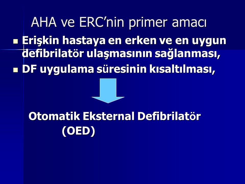 AHA ve ERC'nin primer amacı Erişkin hastaya en erken ve en uygun defibrilat ö r ulaşmasının sağlanması, Erişkin hastaya en erken ve en uygun defibrila