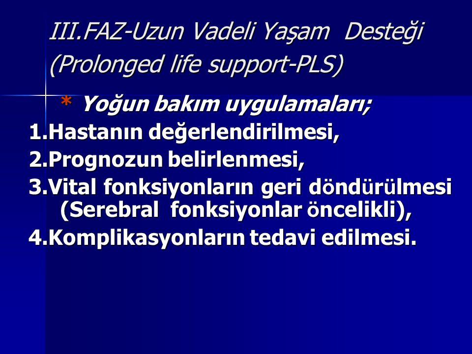 III.FAZ-Uzun Vadeli Yaşam Desteği (Prolonged life support-PLS) * Yoğun bakım uygulamaları; 1.Hastanın değerlendirilmesi, 2.Prognozun belirlenmesi, 3.V