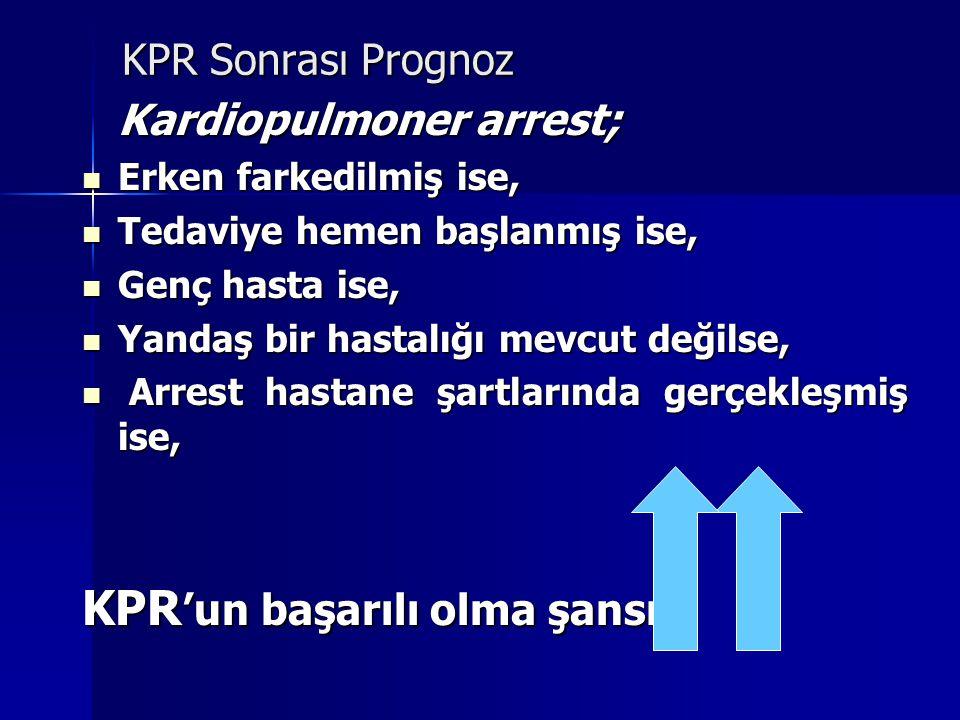 KPR Sonrası Prognoz Kardiopulmoner arrest; Erken farkedilmiş ise, Erken farkedilmiş ise, Tedaviye hemen başlanmış ise, Tedaviye hemen başlanmış ise, G
