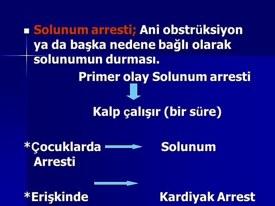Solunum arresti; Ani obstr ü ksiyon ya da başka nedene bağlı olarak solunumun durması. Solunum arresti; Ani obstr ü ksiyon ya da başka nedene bağlı ol