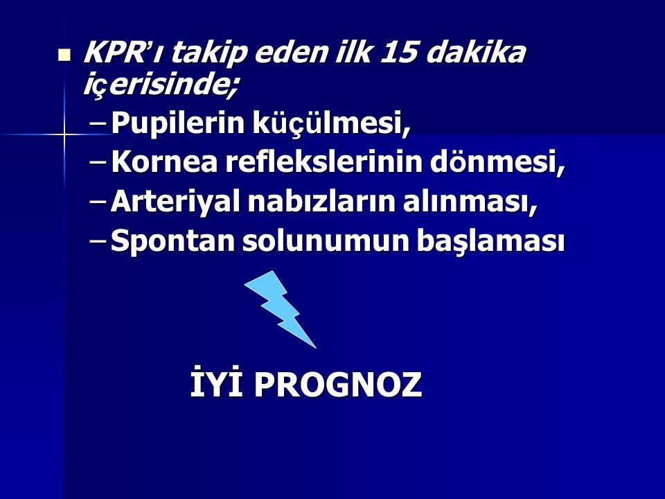 KPR ' ı takip eden ilk 15 dakika i ç erisinde; KPR ' ı takip eden ilk 15 dakika i ç erisinde; –Pupilerin k üçü lmesi, –Kornea reflekslerinin d ö nmesi