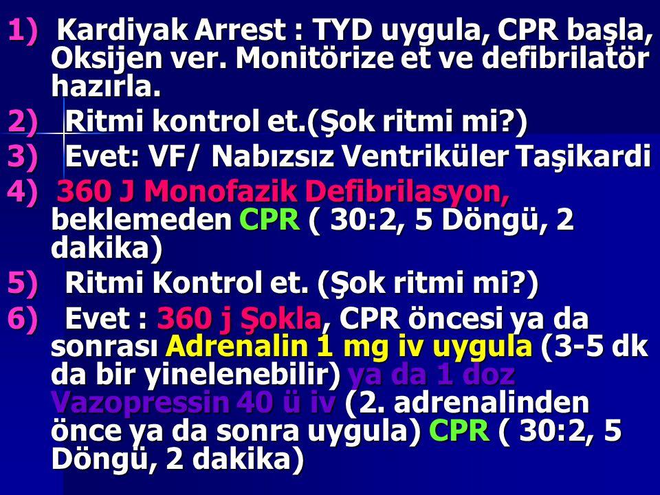 1) Kardiyak Arrest : TYD uygula, CPR başla, Oksijen ver. Monitörize et ve defibrilatör hazırla. 2) Ritmi kontrol et.(Şok ritmi mi?) 3) Evet: VF/ Nabız