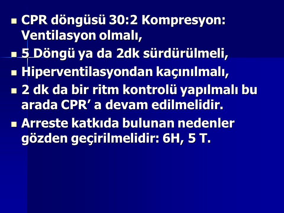 CPR döngüsü 30:2 Kompresyon: Ventilasyon olmalı, CPR döngüsü 30:2 Kompresyon: Ventilasyon olmalı, 5 Döngü ya da 2dk sürdürülmeli, 5 Döngü ya da 2dk sü