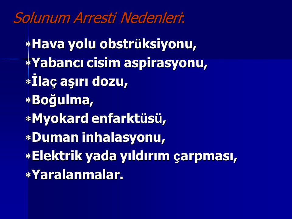 Kardiyak Arrest'te Tanı Nabız: Karotis nabzı alınamaz.