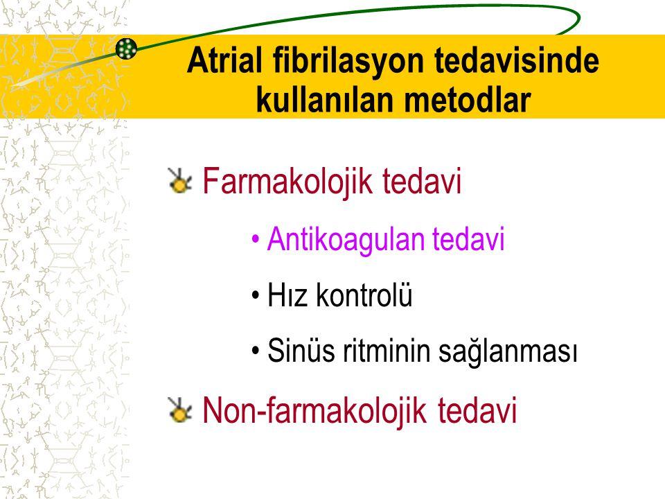Atrial fibrilasyon tedavisinde kullanılan metodlar Farmakolojik tedavi Antikoagulan tedavi Hız kontrolü Sinüs ritminin sağlanması Non-farmakolojik ted