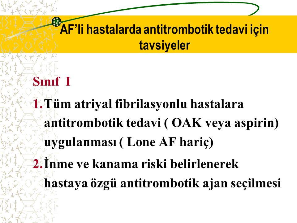 AF'li hastalarda antitrombotik tedavi için tavsiyeler Sınıf I 1.Tüm atriyal fibrilasyonlu hastalara antitrombotik tedavi ( OAK veya aspirin) uygulanma