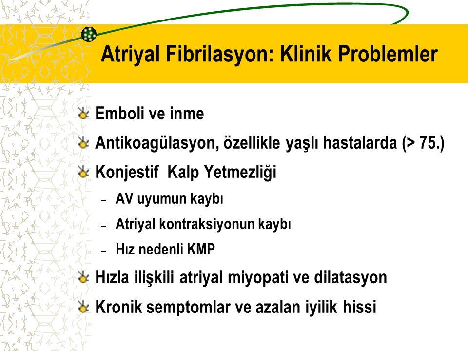 AF'li hastalarda antitrombotik tedavi için tavsiyeler Sınıf I 1.Tüm atriyal fibrilasyonlu hastalara antitrombotik tedavi ( OAK veya aspirin) uygulanması ( Lone AF hariç) 2.İnme ve kanama riski belirlenerek hastaya özgü antitrombotik ajan seçilmesi
