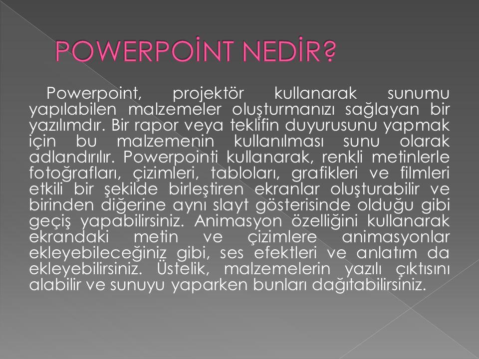 Powerpoint, projektör kullanarak sunumu yapılabilen malzemeler oluşturmanızı sağlayan bir yazılımdır.
