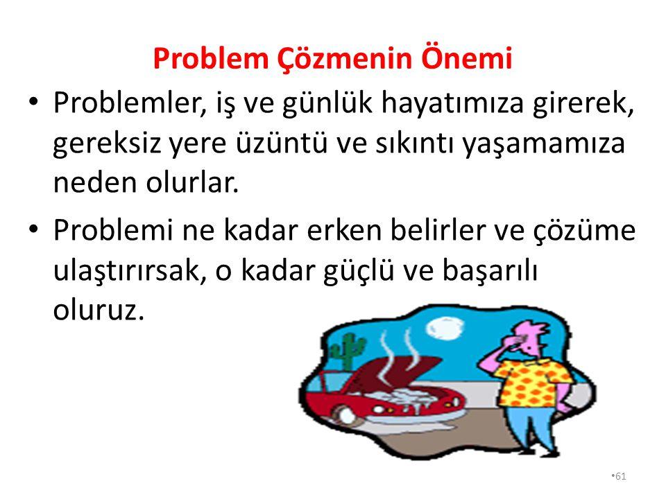 60 Bilimsel Problem Çözme Basamakları Neler Olmalıdır? Problemle karşılaşıldığında, çözmek için; Durum analiz edilir (Problem belirlenir), Çözüm alter
