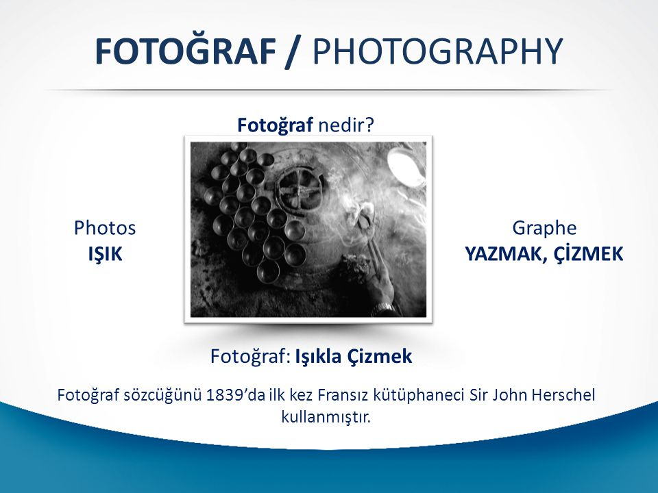 FOTOĞRAF / PHOTOGRAPHY Fotoğraf nedir? Photos IŞIK Graphe YAZMAK, ÇİZMEK Fotoğraf: Işıkla Çizmek Fotoğraf sözcüğünü 1839'da ilk kez Fransız kütüphanec
