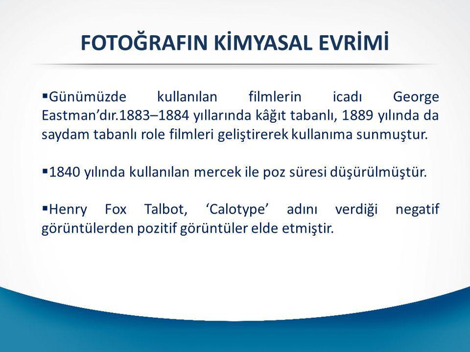 FOTOĞRAFIN KİMYASAL EVRİMİ  Günümüzde kullanılan filmlerin icadı George Eastman'dır.1883–1884 yıllarında kâğıt tabanlı, 1889 yılında da saydam tabanl