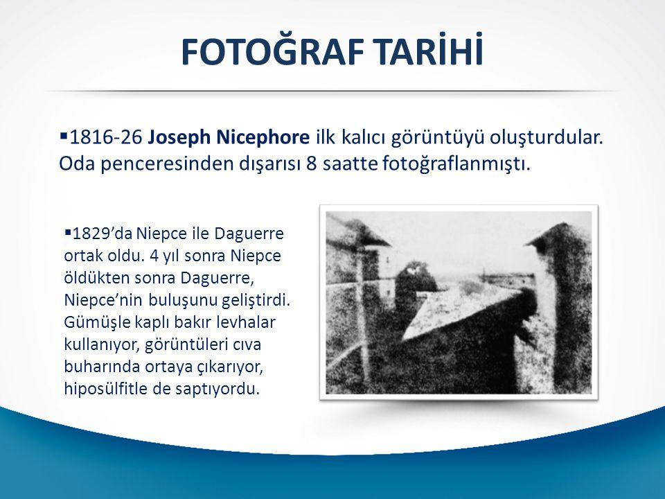  1816-26 Joseph Nicephore ilk kalıcı görüntüyü oluşturdular. Oda penceresinden dışarısı 8 saatte fotoğraflanmıştı. FOTOĞRAF TARİHİ  1829'da Niepce i