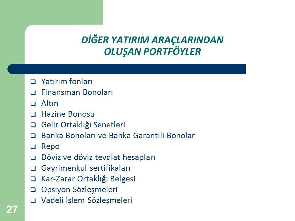 27 DİĞER YATIRIM ARAÇLARINDAN OLUŞAN PORTFÖYLER  Yatırım fonları  Finansman Bonoları  Altın  Hazine Bonosu  Gelir Ortaklığı Senetleri  Banka Bon