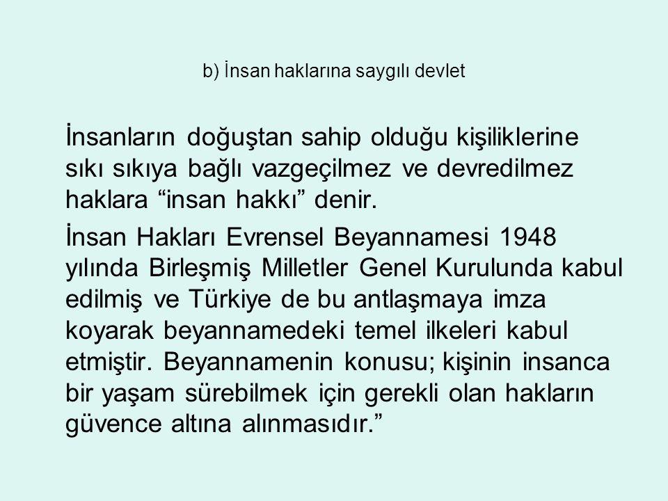 c) Atatürk milliyetçiliğine bağlı devlet Atatürk'ün milliyetçilik anlayışı, akılcı, çağdaş, medeni, ileriye dönük, demokratik, toplayıcı, birleştirici, insani ve barışçıdır.