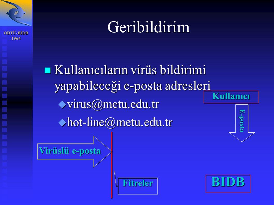 ODTÜ-BİDB1964 Geribildirim Kullanıcıların virüs bildirimi yapabileceği e-posta adresleri Kullanıcıların virüs bildirimi yapabileceği e-posta adresleri  virus@metu.edu.tr  hot-line@metu.edu.tr Virüslü e-posta Fitreler Kullanıcı BIDB E-posta