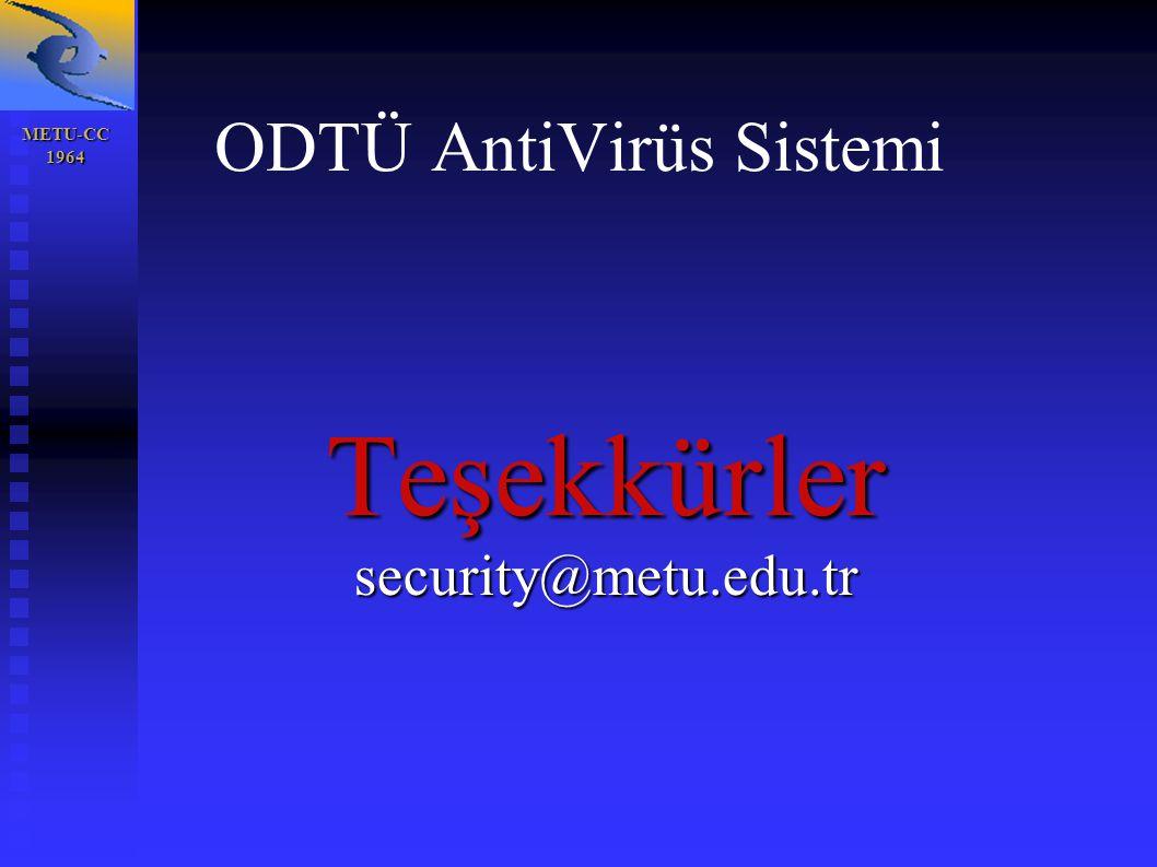 METU-CC 1964 1964 ODTÜ AntiVirüs Sistemi Teşekkürlersecurity@metu.edu.tr