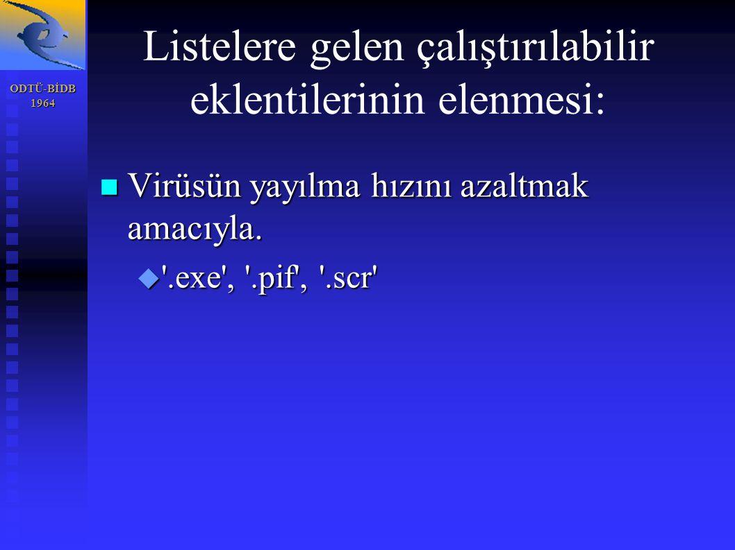 ODTÜ-BİDB1964 Listelere gelen çalıştırılabilir eklentilerinin elenmesi: Virüsün yayılma hızını azaltmak amacıyla.