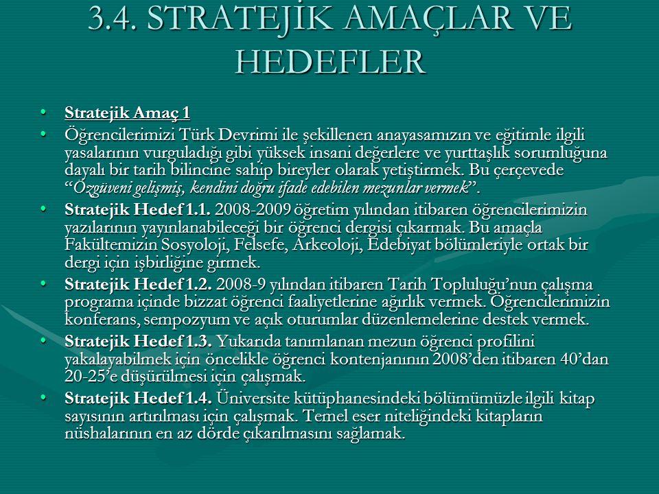 3.4. STRATEJİK AMAÇLAR VE HEDEFLER Stratejik Amaç 1Stratejik Amaç 1 Öğrencilerimizi Türk Devrimi ile şekillenen anayasamızın ve eğitimle ilgili yasala