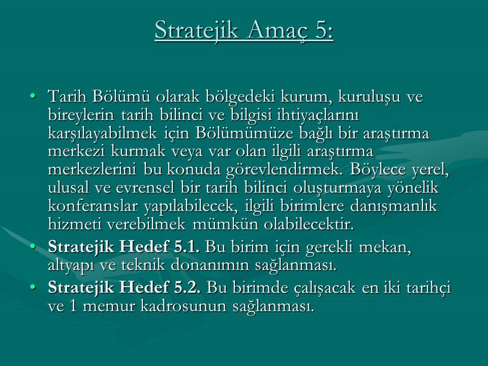 Stratejik Amaç 5: Tarih Bölümü olarak bölgedeki kurum, kuruluşu ve bireylerin tarih bilinci ve bilgisi ihtiyaçlarını karşılayabilmek için Bölümümüze b