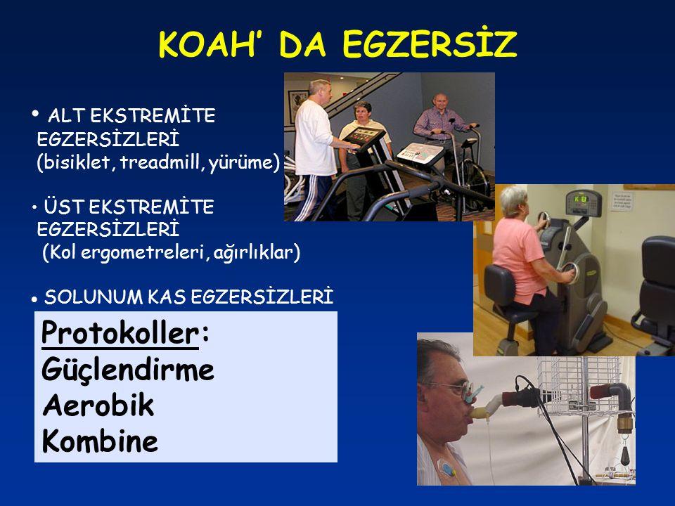 KOAH' DA EGZERSİZ ALT EKSTREMİTE EGZERSİZLERİ (bisiklet, treadmill, yürüme) ÜST EKSTREMİTE EGZERSİZLERİ (Kol ergometreleri, ağırlıklar)  SOLUNUM KAS
