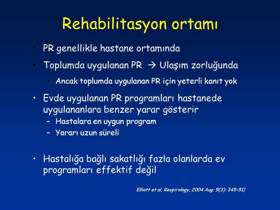 Rehabilitasyon ortamı PR genellikle hastane ortamında Toplumda uygulanan PR  Ulaşım zorluğunda Ancak toplumda uygulanan PR için yeterli kanıt yok Evd
