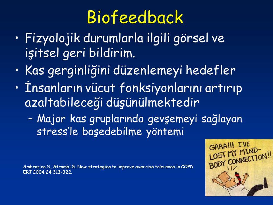 Biofeedback Fizyolojik durumlarla ilgili görsel ve işitsel geri bildirim. Kas gerginliğini düzenlemeyi hedefler İnsanların vücut fonksiyonlarını artır