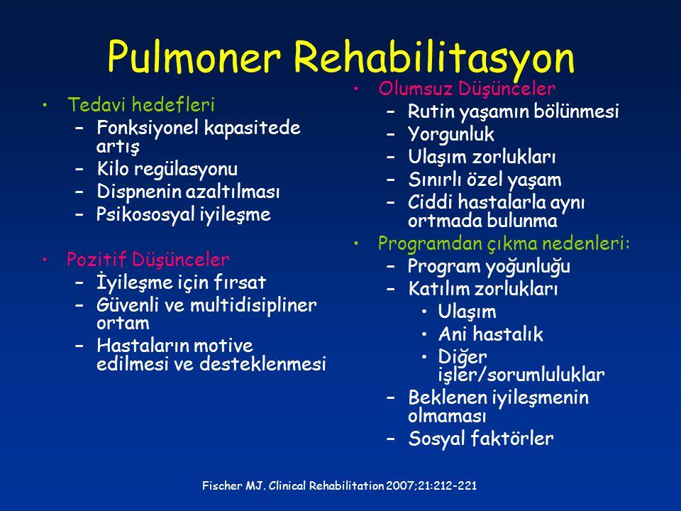 Pulmoner Rehabilitasyon Tedavi hedefleri –Fonksiyonel kapasitede artış –Kilo regülasyonu –Dispnenin azaltılması –Psikososyal iyileşme Pozitif Düşüncel