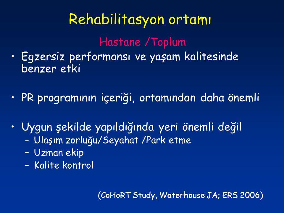 Rehabilitasyon ortamı Hastane /Toplum Egzersiz performansı ve yaşam kalitesinde benzer etki PR programının içeriği, ortamından daha önemli Uygun şekil