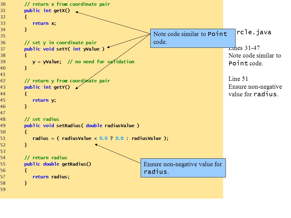 Circle.java Lines 31-47 Note code similar to Point code. Line 51 Ensure non-negative value for radius. 30 // return x from coordinate pair 31 public i