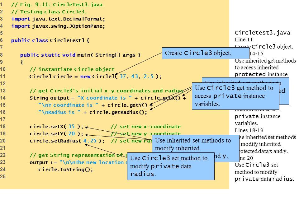 Circletest3.java Line 11 Create Circle3 object.
