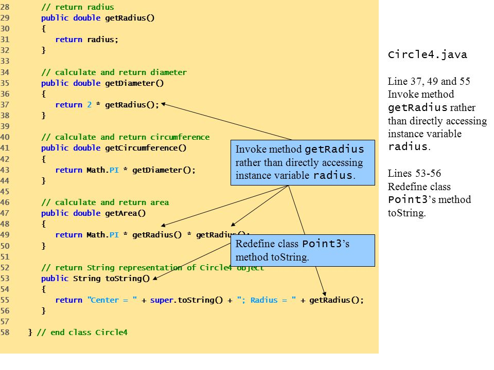 Circle4.java Line 37, 49 and 55 Invoke method getRadius rather than directly accessing instance variable radius.