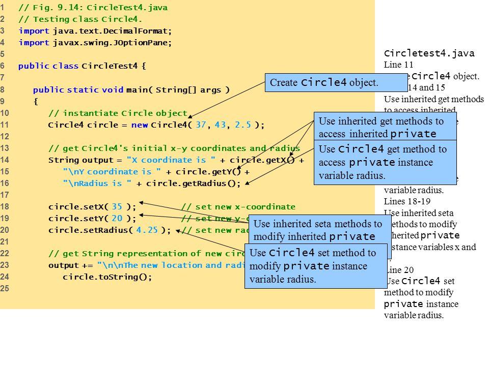 Circletest4.java Line 11 Create Circle4 object.
