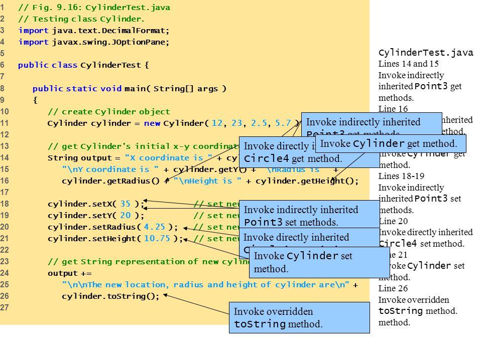 CylinderTest.java Lines 14 and 15 Invoke indirectly inherited Point3 get methods.