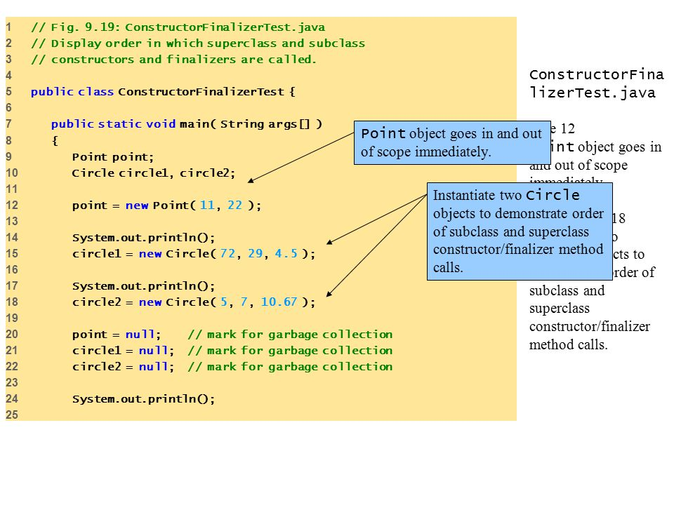 ConstructorFina lizerTest.java Line 12 Point object goes in and out of scope immediately.