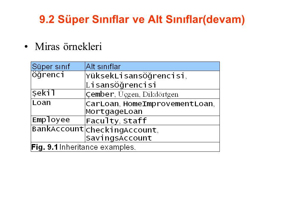 9.2 Süper Sınıflar ve Alt Sınıflar(devam) Miras örnekleri