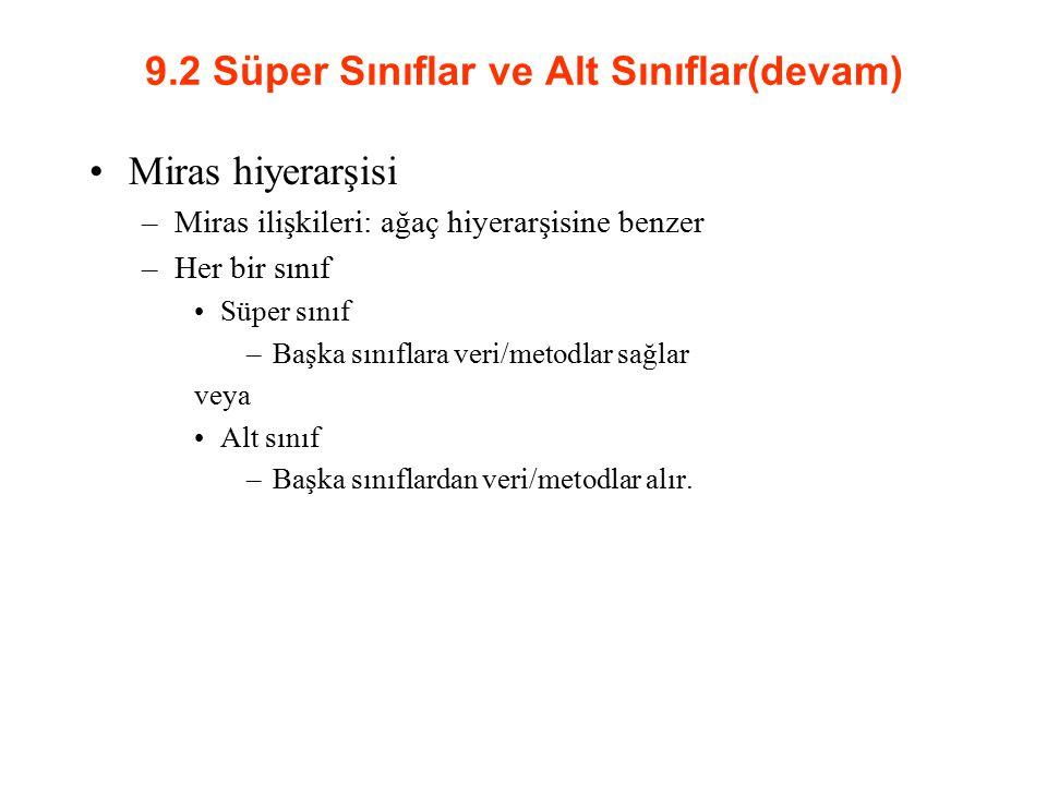 Yapılandırıcı Zinciri Animal int numLegs = 0 String strType toString(); move(); Object toString() Fish move(); Fish fTemp = new Fish(0); fTemp Animal int numLegs = 0 String strType toString(); move(); Object toString() Fish move(); Animal int numLegs = 0 String strType toString(); move(); Object toString() Fish move(); To make a Fish, Java must first make an Animal.