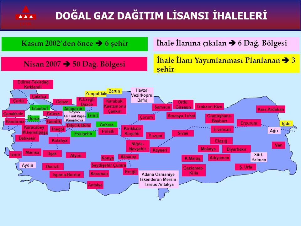 EPDK DOĞAL GAZ DAĞITIM LİSANSI İHALELERİ İstanbu l Bursa Ankara Eskişehir İzmit Kasım 2002'den önce  6 şehir Konya Sivas Erzurum Kütahya Balıkesir Ka