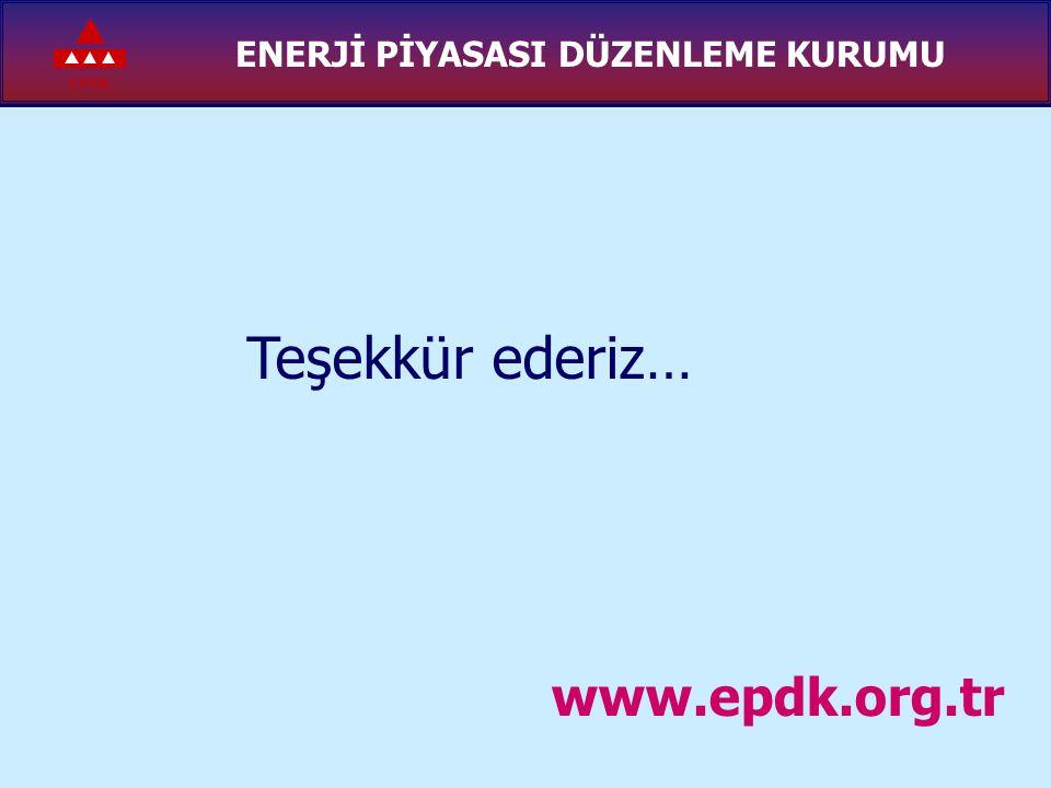 EPDK ENERJİ PİYASASI DÜZENLEME KURUMU Teşekkür ederiz… www.epdk.org.tr