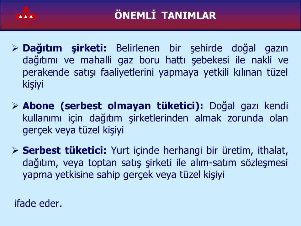 EPDK SERBEST TÜKETİCİ KAVRAMI 4646 Sayılı Doğal Gaz Piyasası Kanunu'na göre; SSatın aldığı yıllık doğal gaz miktarı bir milyon metreküpten daha fazla olan tüketiciler ve kullanıcı birlikleri, EElektrik enerjisi üretimi için gaz satın alan şirketler, EElektrik ve ısı enerjisi üreten kojenerasyon tesisleri, ÜÜretim faaliyetinde kullanılmak üzere, Türkiye'de doğal gaz üreten üretim şirketleri, Serbest Tüketici statüsündedir.