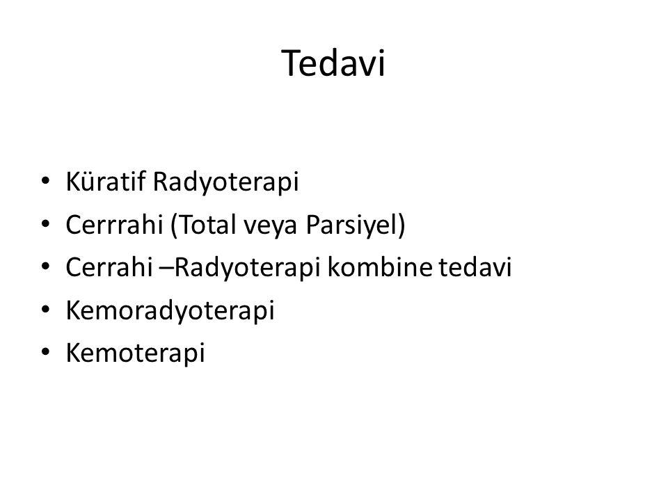 Tedavi Küratif Radyoterapi Cerrrahi (Total veya Parsiyel) Cerrahi –Radyoterapi kombine tedavi Kemoradyoterapi Kemoterapi