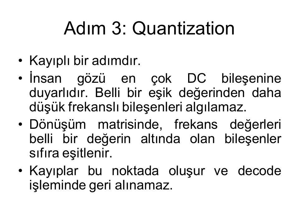 Adım 3: Quantization Kayıplı bir adımdır. İnsan gözü en çok DC bileşenine duyarlıdır. Belli bir eşik değerinden daha düşük frekanslı bileşenleri algıl