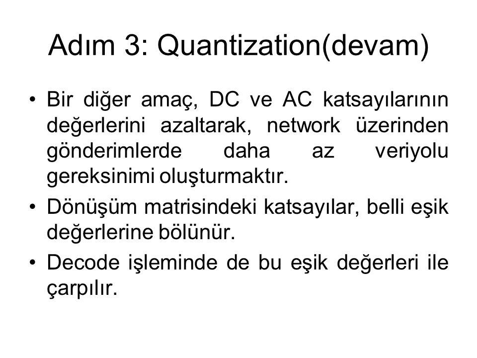 Adım 3: Quantization(devam) Bir diğer amaç, DC ve AC katsayılarının değerlerini azaltarak, network üzerinden gönderimlerde daha az veriyolu gereksinim