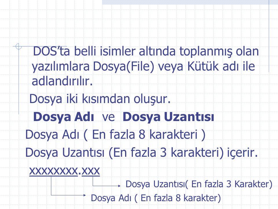 Bazı karakterler veya DOS'taki donanıma bağlı aygıtların isimleri dosya adı ve uzantısı olarak kullanılamazlar.