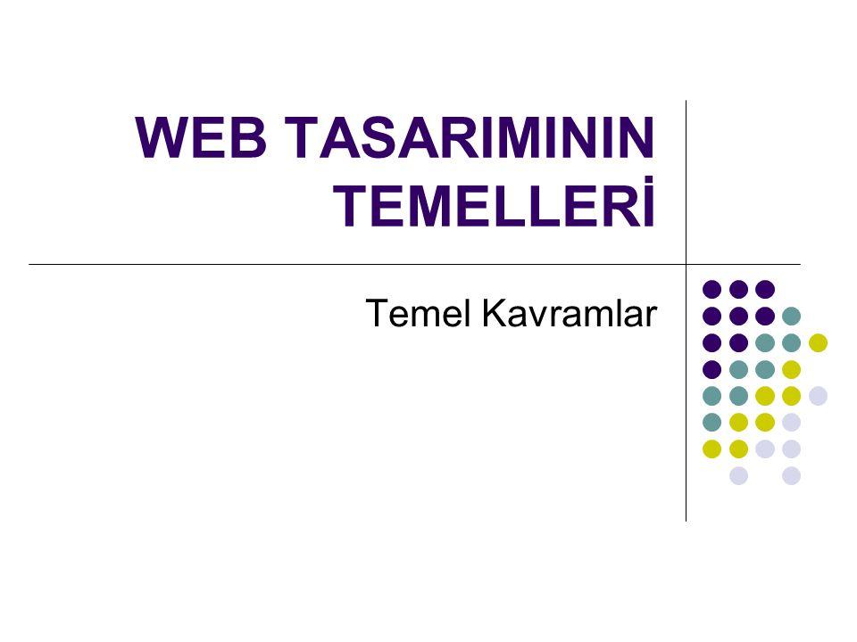 WEB TASARIMININ TEMELLERİ Temel Kavramlar