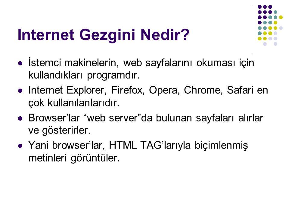 Internet Gezgini Nedir? İstemci makinelerin, web sayfalarını okuması için kullandıkları programdır. Internet Explorer, Firefox, Opera, Chrome, Safari