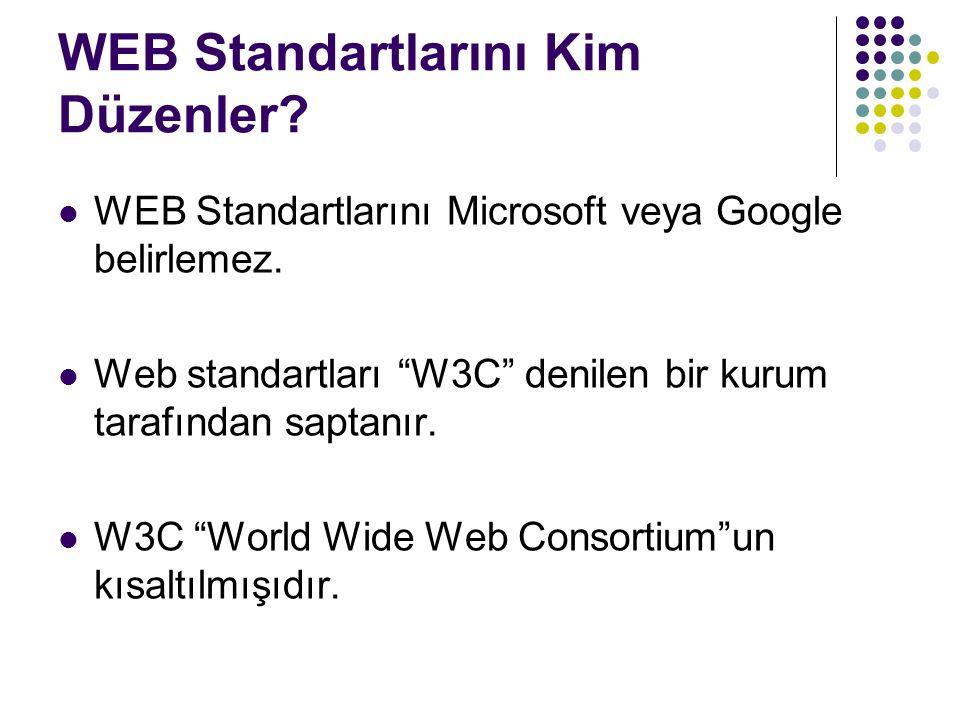 """WEB Standartlarını Kim Düzenler? WEB Standartlarını Microsoft veya Google belirlemez. Web standartları """"W3C"""" denilen bir kurum tarafından saptanır. W3"""