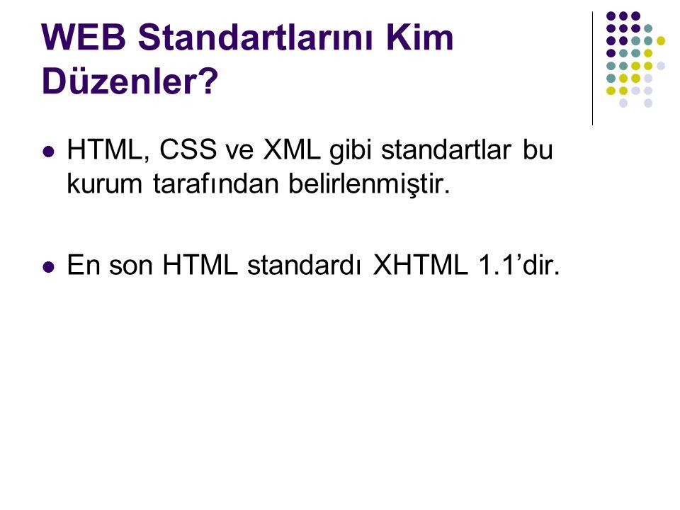 WEB Standartlarını Kim Düzenler? HTML, CSS ve XML gibi standartlar bu kurum tarafından belirlenmiştir. En son HTML standardı XHTML 1.1'dir.