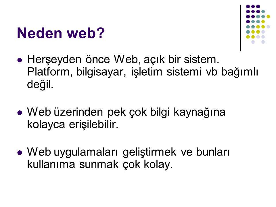 Neden web? Herşeyden önce Web, açık bir sistem. Platform, bilgisayar, işletim sistemi vb bağımlı değil. Web üzerinden pek çok bilgi kaynağına kolayca